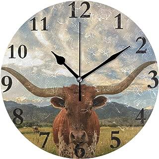 Ladninag Wall Clock Texas Longhorn Steer Silent Non Ticking Decorative Round Digital Clocks for Home/Office/School Clock