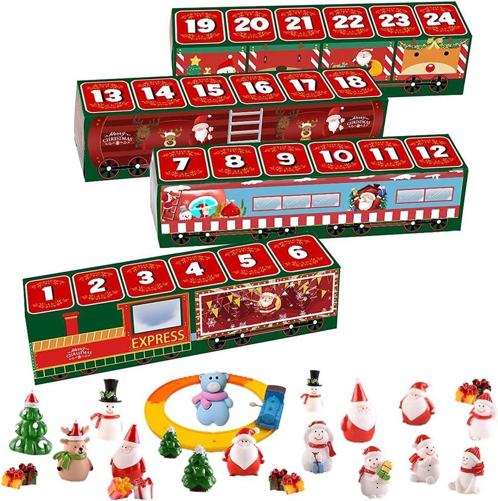Calendario de cuenta regresiva de Navidad, caja ciega de tren sorpresa anti estrés apretado juguetes conjuntos con 24 días de cuenta regresiva regalo 24 juguetes sensoriales regalo para Navidad