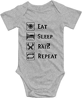 Promini Eat Sleep Raid Repeat Strampler für Babys, Baumwolle, kurzärmelig, 0-3 Monate, ZI3089