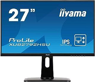 マウスコンピューター iiyama モニター ディスプレイ XUB2792HSU-B1(27型/IPS方式/狭額縁/広視野角/非光沢/昇降/ピボット/スィーベル/1920x1080/DP,HDMI,D-Sub) マーベルブラック