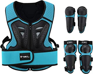 Kids Motorcycle Armor Suit Dirt Bike Gear Riding Protective Gear Chest Protection for Motocross Cycling Skateboard,Skiing,Skating,Off-road (Blue)