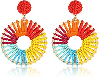 PHALIN Beaded Earrings Multicolored Seed Bead Drop Earrings for Women Statement Round Oval Dangle Earring Studs for Girls ...