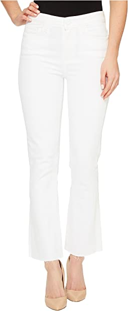 Colette Crop Flare with Raw Hem in Optic White