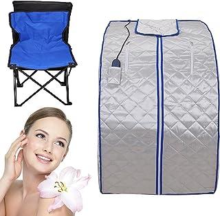 lglobalbuy 家庭用 サウナ 600 w ポータブル モミ/遠赤外線スパ サウナ+足加熱 パッド 体重を減らし、毒素を取り除き、ストレスを減らし、疲れが取れる
