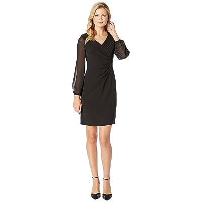 Tahari by ASL Shawl Collar Dress with Chiffon Sleeves (Black) Women