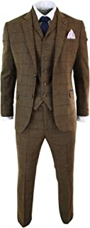 CAVANI Mens Herringbone Tweed Tan Brown Check 3 Piece Wool Suit Peaky Blinders Navy tan-Brown 36