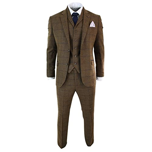 e1739e1aeac1 Mens Herringbone Tweed Tan Brown Check 3 Piece Wool Suit Peaky Blinders Navy
