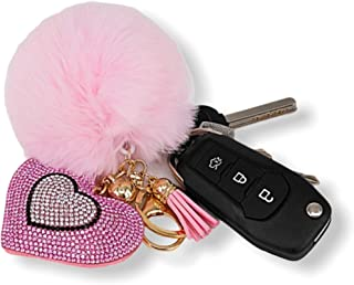 Women's Heart Rhinestone Faux Fur Pom Pom Key Chains With Tassel, Bag Accessory Puffball Keyring Backpack Charms for Girls