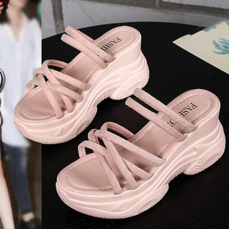 Women Casual Platform Sandals Summer Outdoor Open Toe Suede Slip On Non-slip Wedges High-heels Shoe