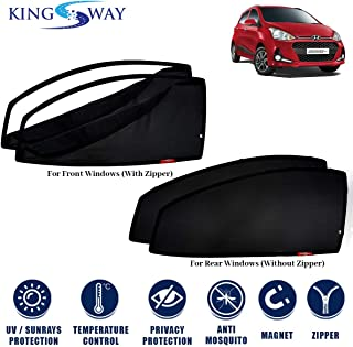 Kingsway Car Magnetic Sun Shades/Curtains for Hyundai Grand I10 (Model Year : 2017 Onwards) (Set of 4, with Zipper, Cotton Mesh Fabric)
