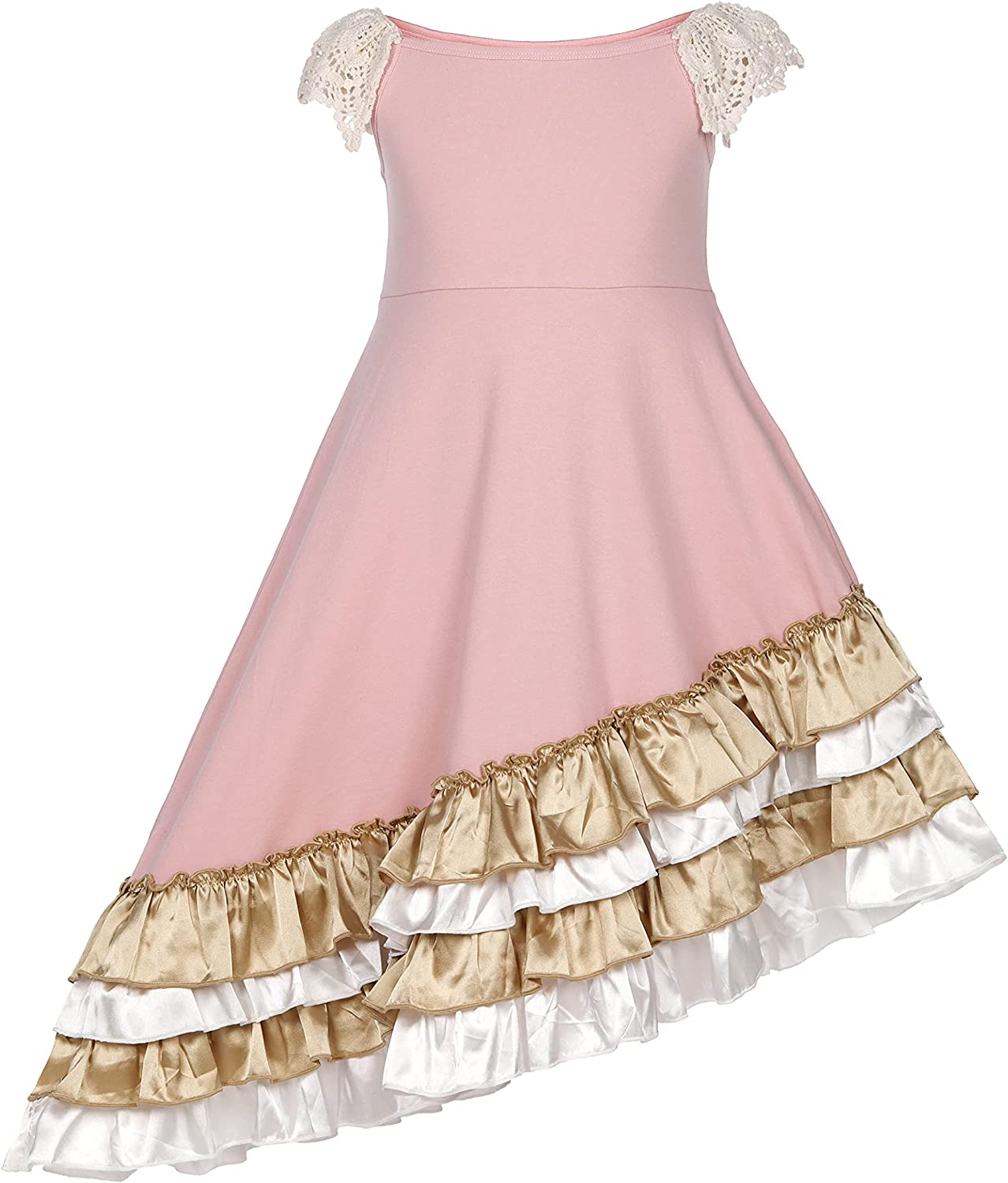 Girls Ruffles Maxi Dress Candy Color Sleeve Fly Sin OFFer Floral Print Popular brand in the world
