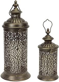 Urban Trends Metal Lantern W//Handle Votive Candle Holder Antique Pierced Gold