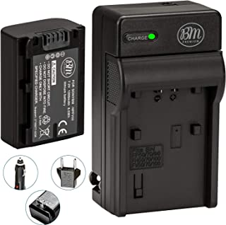 BM Premium NP-FV50 Battery and Charger for Sony FDR-AX53, HDR-CX675/B, CX455/B, CX200, CX210, CX220, CX230, CX290, CX330, CX380, CX430V, CX900, PJ340, PJ540, PJ670, PJ810,FDR-AX33, AX100 Camcorder
