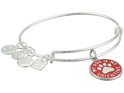 Alex and Ani My Dog Is My Valentine Bangle Bracelet (Shiny Silver) Bracelet