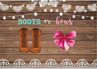 Allenjoy Boots or Bows Gender Reveal Backdrop Rustic Wood He or She Boy or Girl Baby Shower Party Cake Table Banner Cowboy Boots Lace Decorations for Pictures 7x5ft Photo Booth Supplies Background