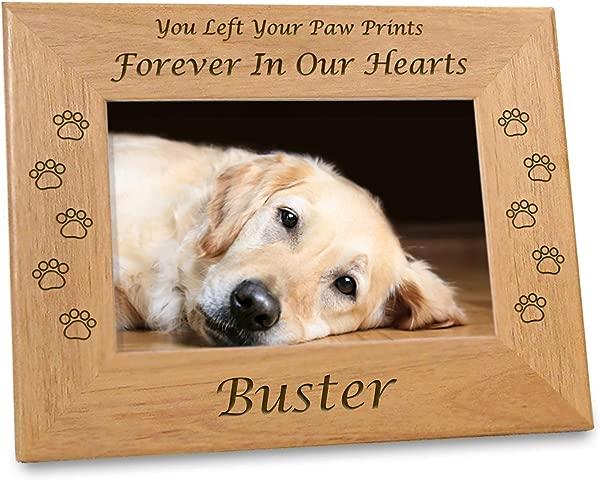 铭刻在我的心中宠物记忆框架个性化的狗纪念礼物 4x6 照片 W 爪子在乡村桤木上打印定制信息,用于爱情纪念品