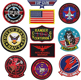 Top Gun Patch,Top Gun Patch United Sates Navy Fighter Weapons School, American Flag, Cv-61 USS Ranger 100 Centurion, Tom Cat, Pete Mitchell Maverick, Vx-31, Vf-1 Embroidered Patch Appliques Badge
