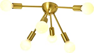 SOTTAE 6-Light Gold Modern Sputnik Chandeliers, Mid Century Flush Mount Ceiling Light, Ceiling Lamp Fixture for Bedroom Dining Room Kitchen Foyer and Hallway