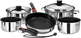 Magma Products, A10-366-2 Gourmet Nesting Stainless Steel Cookware Set, 10 Piece Ceramica Non-Stick