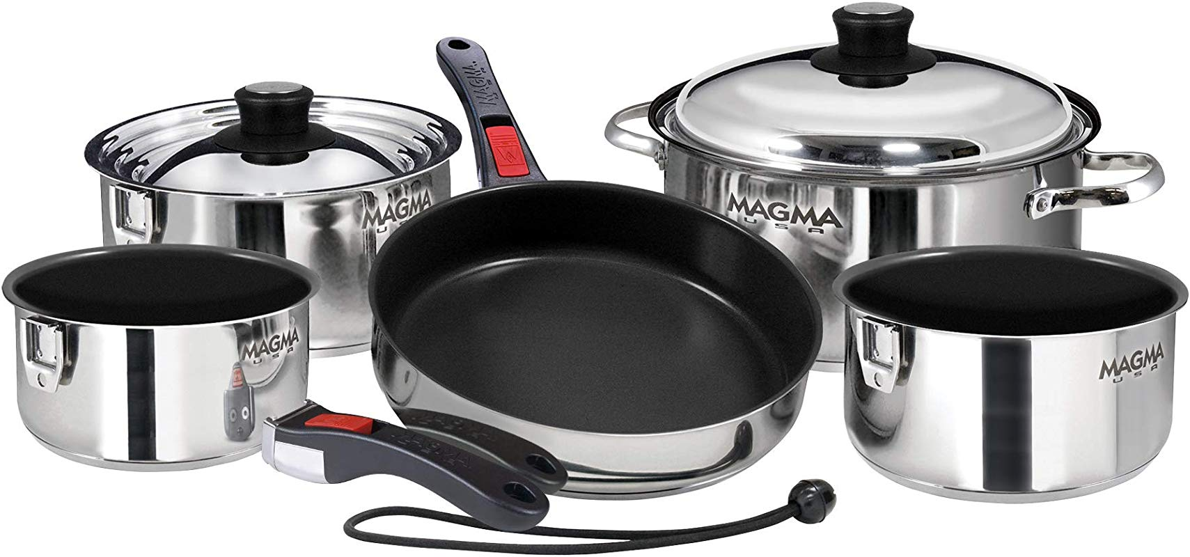 Magma Products A10 366 2 Gourmet Nesting Stainless Steel Cookware Set 10 Piece Ceramica Non Stick