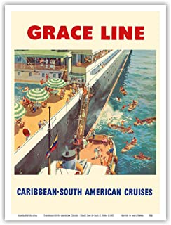 Caribbean - South American Cruises - Grace Line - Natives Diving for Coins - Vintage Ocean Liner Travel Poster by Carl G. Evers c.1952 - Master Art Print - 9in x 12in