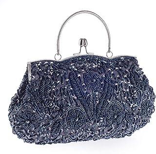 Fresh wild simple fashion Women's Handmade Beaded Evening Bag Wild Party Dress Bride Bridesmaid Bag Handbag Chain Shoulder...