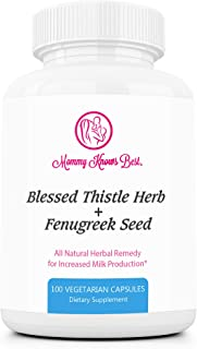 Fenugreek and Blessed Thistle Lactation Aid Support Supplement for Breastfeeding Mothers - 100 Vegetarian Capsules