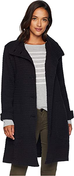 Signature Waffle Button Front Funnel Neck Coat