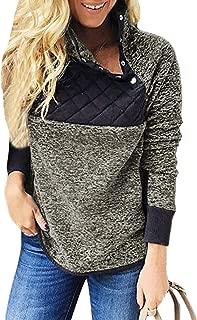 Women Stand Collar Buttons Fleece Pullover Sweatshirt Pockets(6 Colors S-XXL)