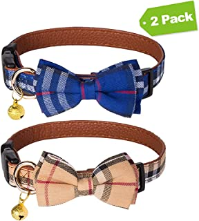 EXPAWLORER 2 Pack Bowtie Dog Collar with Bell - Cute Plaid Removable Bow Tie Adjustable from 11''-17'' for Small to Medium Dogs Cat