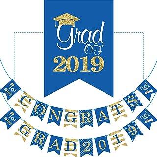 2019 Blue Graduation Banner - No DIY Required Graduation Party Supplies Decorations, Blue Grad Banner for College, High School Party (Congrats Grad 2019)