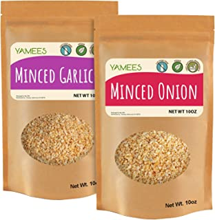 Yamees Minced Onion and Garlic – Minced Onions and Garlic Dried – Onion and Garlic Minced – Bulk Spices – 2 Pack of 10 Ounce Each