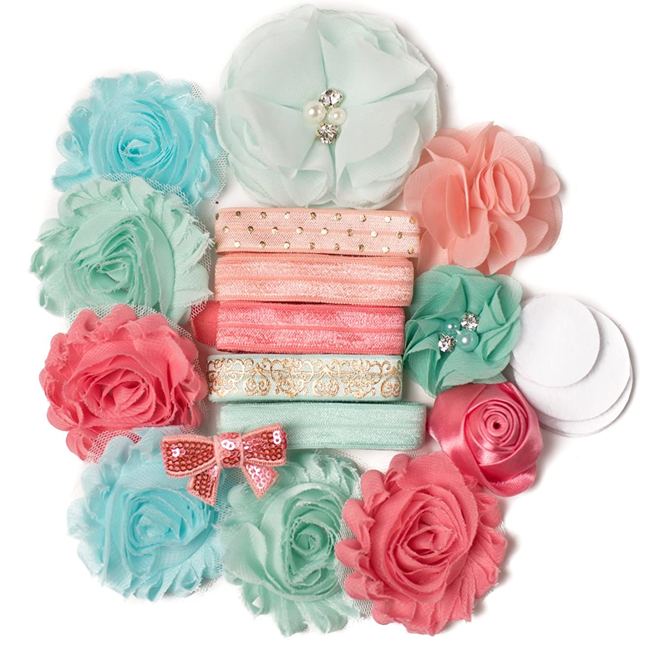 French Riviera : Mint Green & Peach Coral Sparkle DIY Deluxe Mini Headband Kit MAKES 5-10 Headband Hair Accessories : Shabby Chiffon Craft Roses FOE Fold Over Elastic : Princess Parties & Baby Showers
