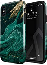 BURGA Phone Case Compatible with iPhone Xs Max Emerald Green Jade Stone High Fashion Luxury Gold Glitter Marble Cute for Girls Heavy Duty Shockproof Dual Layer Hard Shell + Silicone Protective Cover