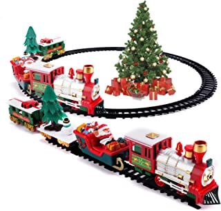 CY-ZAM Toy Train Set with Lights and Music, Electric Railway Train with Cars and Tracks for Around The Tree, Gift for 3 4 ...