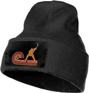 Men/Women Retro Style Slap Shot Silhouette Hockey Outdoor Warm Knit Beanies Hat Soft Winter Skull Caps