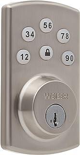 Weiser Powerbolt 2.0 Electronic Deadbolt Featuring SmartKey, Exterior Door Lock with Keypad, Satin Nickel (9GED14600-103)