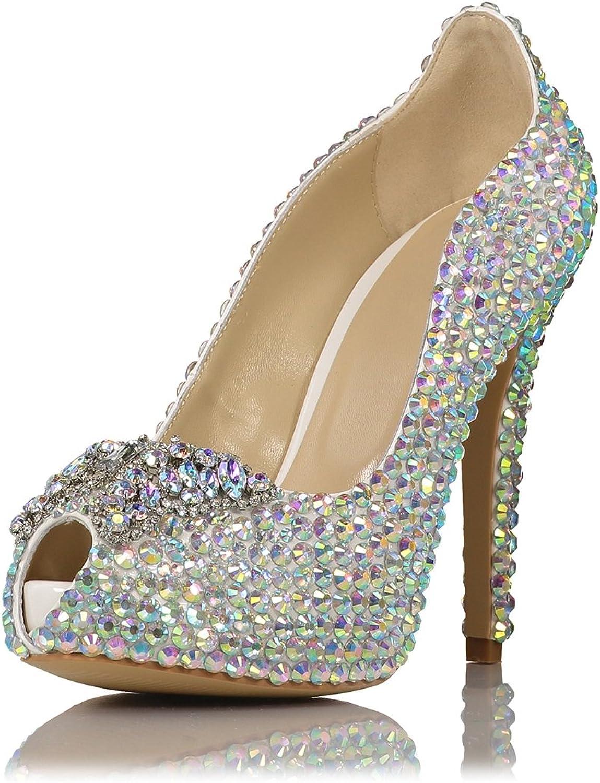 Miyoopark LS0653 Women's Peep Toe colorful Crystals Bridal Wedding Sandals