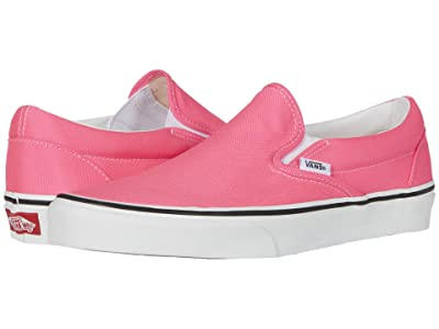 Vans Classic Slip-Ontm ((Neon) Knockout Pink/True White) Skate Shoes