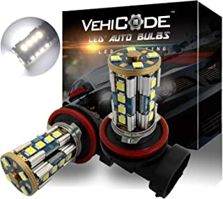 VehiCode Super Bright 2800 Lms H11 H9 H8 H16 (Type 2) (6000K White) LED Fog Light Bulbs/Daylight (DRL) Conversion Kit - High Power 20-SMD 3030-360 Degree Fanless Plug-N-Play Replacement (2 Pack)