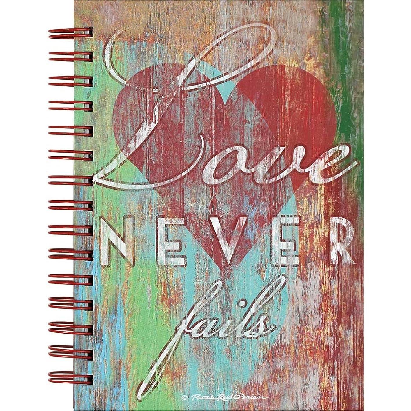 Love Never Failsハート6?x 8インチLinedスパイラルバインドジャーナル