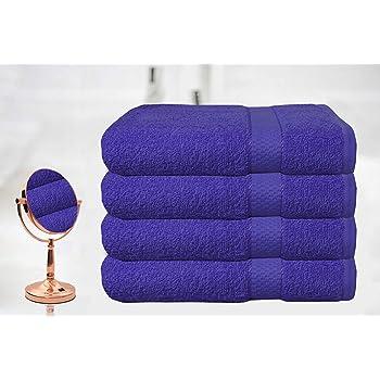 Casabella - Juego de 4 toallas de baño grandes de algodón egipcio peinado, tamaño grande, algodón, azul, 4 Bath Sheet: Amazon.es: Hogar