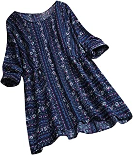 Women Top Casual Loose Printed Shirts Long Sleeve Pullover Pockets Plus Size Tunic Blouse T-Shirt Tops