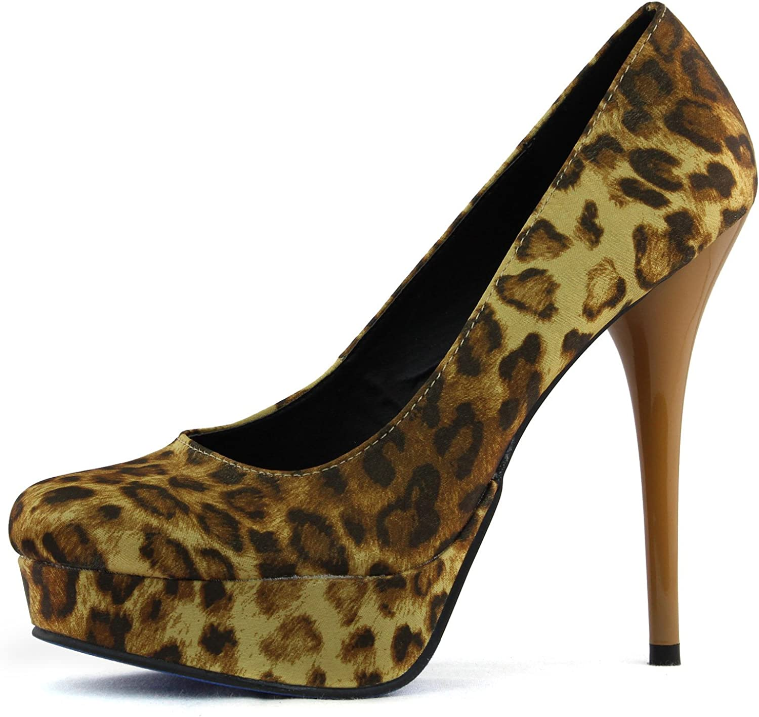 Women's Platform High Heel Satin Animial Print Leopard Pumps Fashion shoes