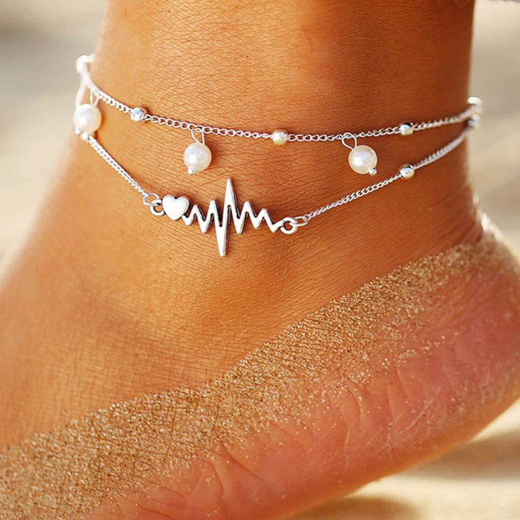 Dresbe Boho Beach Pearl Anklet shopping Layered Heart Anklets Silver Max 63% OFF Bead