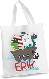 wolga-kreativ Stofftasche Einkaufstasche 100% Bio BW Dino Monster mit Name Stoffbeutel Kindertasche Sportbeutel Schuhbeute...