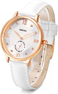 Time100 Womens Fashion Quartz Watch with Roman Numerals Fashion Diamond Leather Band Analog Watch for Women/Ladies (White Leather)