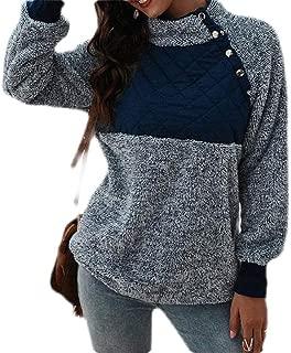 Macondoo Women's Fleece Contrast Color Sherpa Fuzzy Pullover Winter Sweatshirt