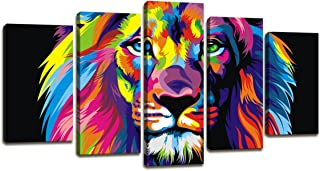 Modern Painting Canvas Wall Art Art Prints - 5 Panel Colorful Lion Art Pictures Print On Canvas Decoration Home and bathroom wall