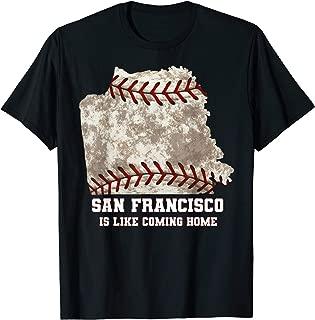 San Francisco Map Baseball Ball Distressed Texture T-shirt